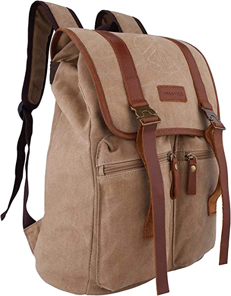 Men Women Canvas Retro Schoolbag Rucksack Laptop Travel Hiking Camping Backpack