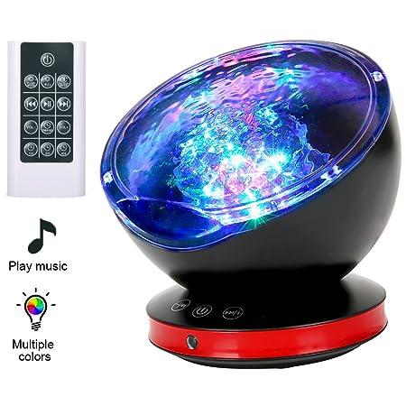 Lámpara Proyector, Proyector LED de Luz Océano con 45 Grados de Rotación, control remoto & 8 Modos, Luz del Sueño con Reproductor de Música para Niños, ...
