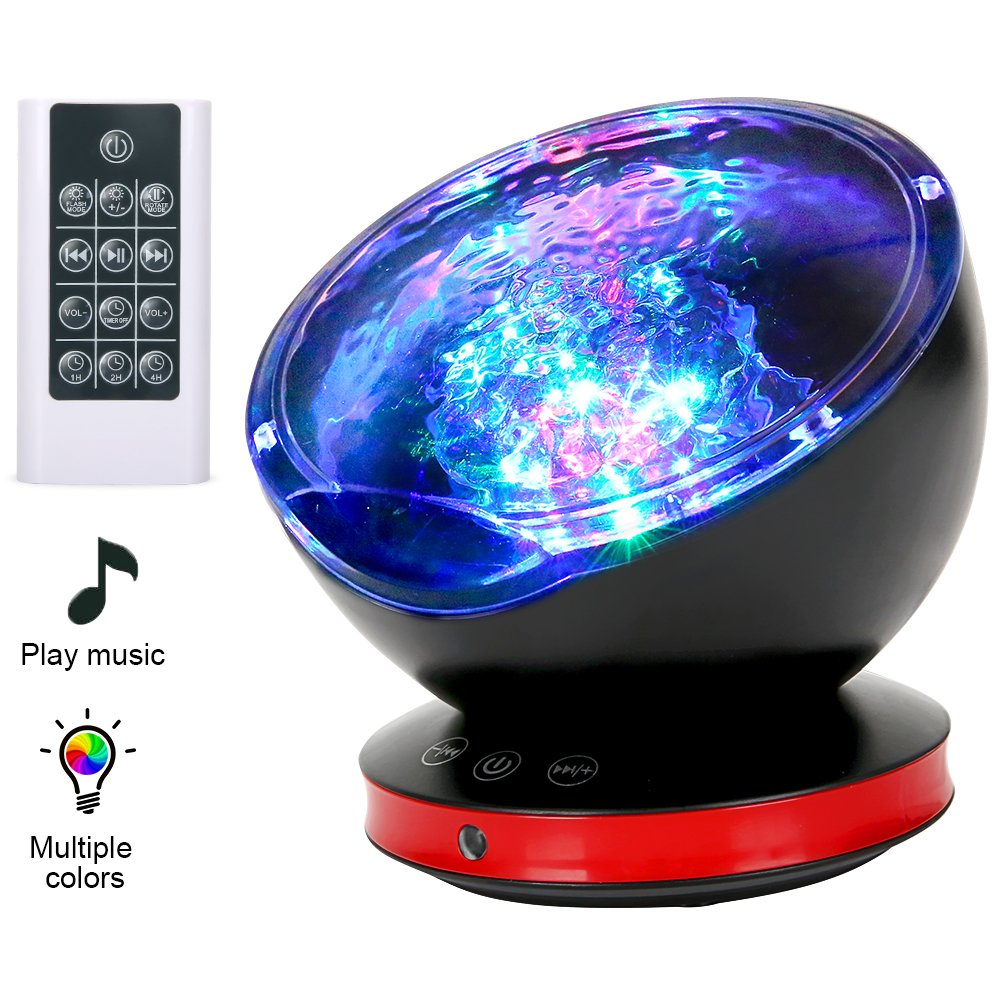 [Newest Design] Remote Control Ocean Wave Projector 12 LED &7 Colors Night Light with Built-in Mini Music Player for Living Room and Bedroom