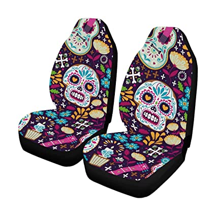 InterestPrint Day Of The Dead Sugar Skull Front Car Seat Covers Set 2 Universal