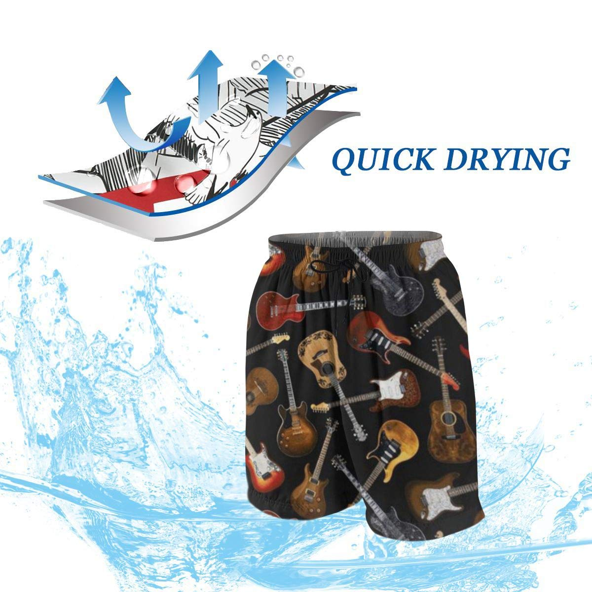 Guitars Black Casual Boys Teens Swim Trunks Quick Dry Printed Beach Shorts Summer Boardshorts Bathing Suits with Mesh Lining