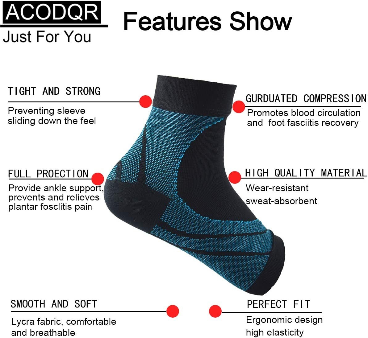 ACOAQR Compression Sleeves Arch Support Ankle Pain Relief Socks Reduce Foot Swelling for Men and Women Plantar Fasciitis Sock Ankle Support