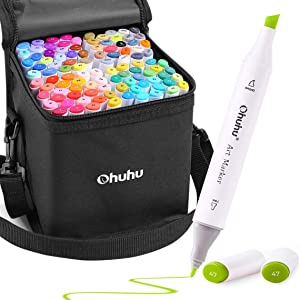 100 Colors Alcohol Art Markers, Ohuhu Double Tipped Coloring Marker Set, BONUS 1 Colorless Blender, Fine and Chisel Alcohol-based Drawing Markers for Kids Sketching Adult Coloring