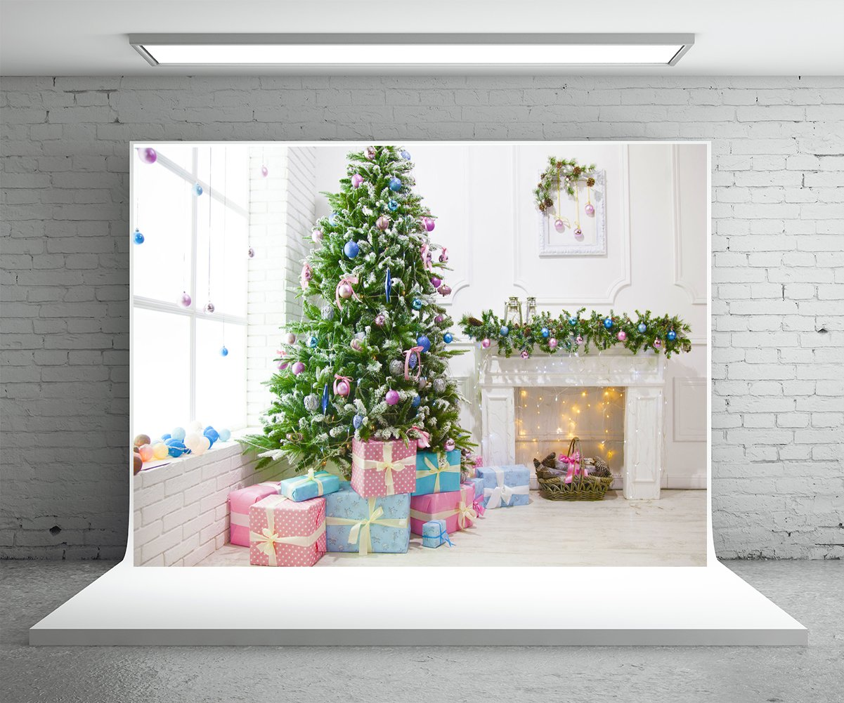 Amazon.com : 5x7 ft White Backdrop Wood Floor Christmas Green ...