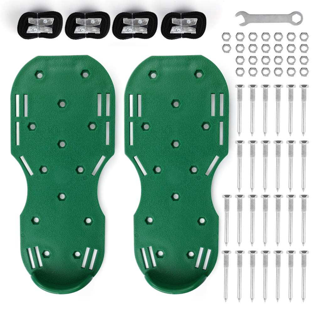 MultiOutools Lawn Aerator Shoes Spiked Aerating Lawn Sandals Ripper Gardening Tool for Loosening Lawn &Yard Soil-26 Steel Spikes, 4 Secure Woven Straps &4 Zink Alloy Buckles-One Size Fits All (Green)