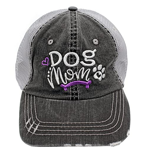 dbc6de5a11a Dog Mom Bone Embroidered Trucker Distressed Grey Cap Hat (Purple) at ...