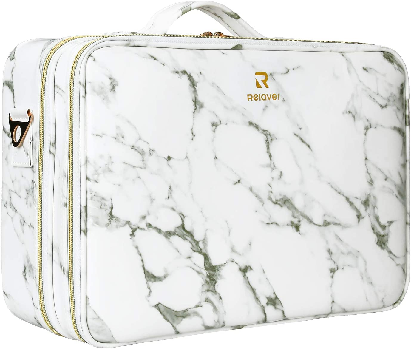 MONSTINA Makeup Case 3-layer Large Cosmetic Organizer Marble Pattern PU Water-proof Makeup Bag With Adjustable Dividers Makeup Brushes Tools Storage Bag Travel Case