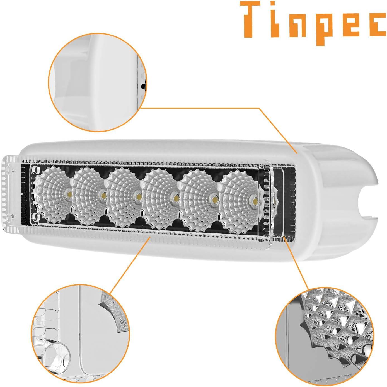 2 PCS Tinpec Vehicle Lights IP67 Waterproof Boat LED Lights 12V with Adjustable Mounting Bracket for Boat Yacht Skiff Car SUV Truck Forklift Bus Spreader LED Deck White//Black