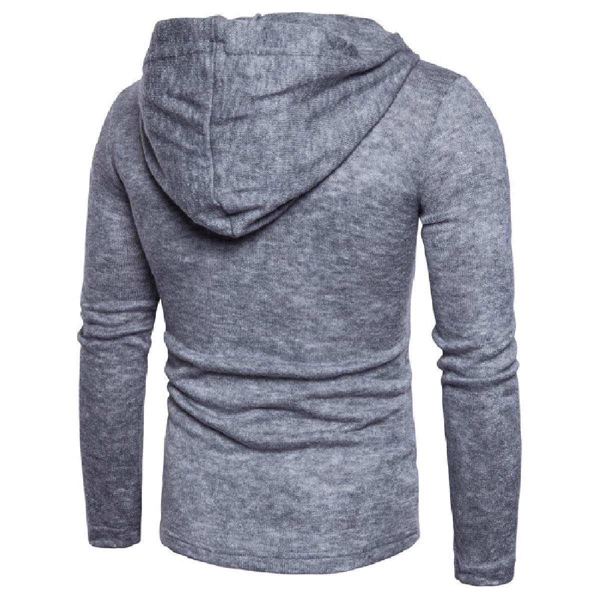 Zimaes-Men Hood Long Sleeve Solid Straps Simple Sweater Pullover