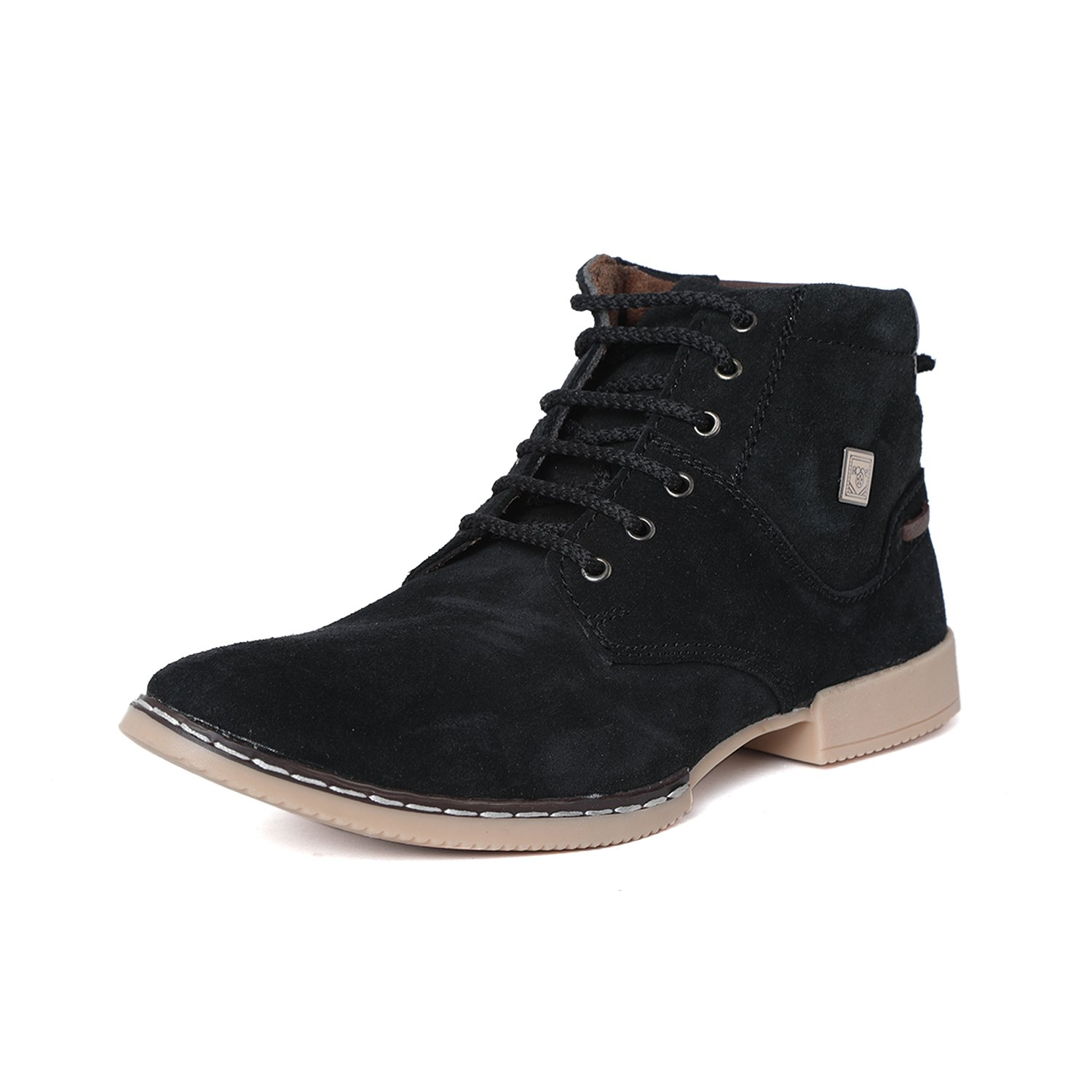 T-Rock Vision Men's Suede Synthetic Leather Black Shoes/ Dress Boots/ Vintage Lace-up Party Wear