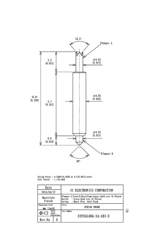 スプリングプローブ(ポゴピン) 両端プローブピン 8YF85L60G-SA-ABI-E 1パック100個入