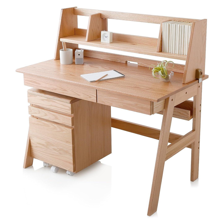 リファイン不良天才LOWYA (ロウヤ) 木製チェア 学習チェア 座面5段階昇降 天然木 ファブリック座面 ランドセル収納可能 キッズ家具 ナチュラル/グレー おしゃれ 新生活