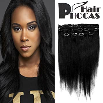 Amazon hairphocas 14 inch 1 clip in remy human hair hairphocas 14 inch 1 clip in remy human hair extensions jet black color short real pmusecretfo Choice Image