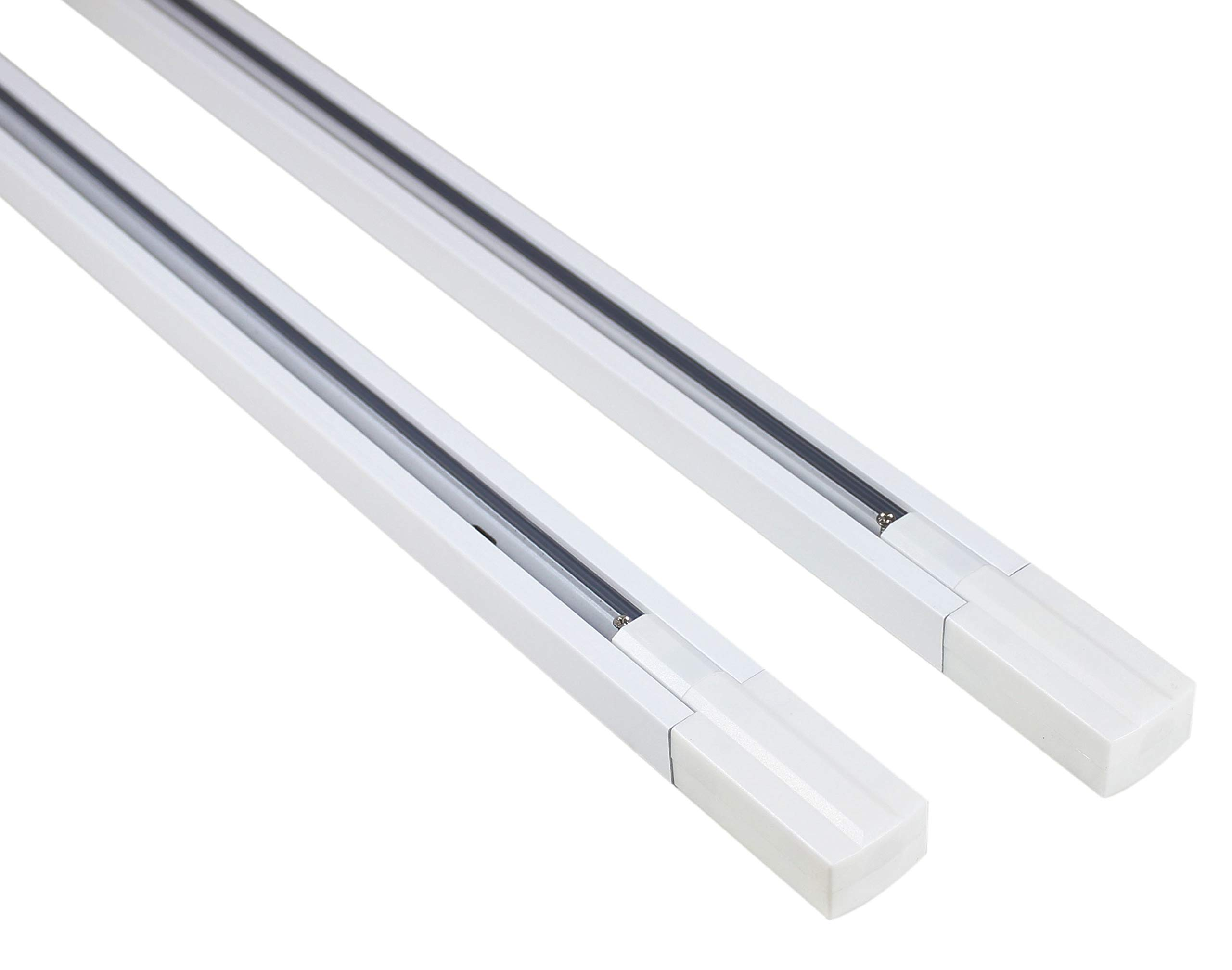 J.LUMI RAL1002W Track Light Rails, 3-Wire Single Circuit Track Rails, White Paint Finish, 3-ft per Section (Pack of 2 Sections), Compatible w/ TRK9000W and TRK9600W Track Heads only
