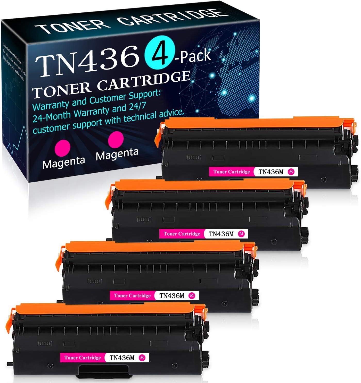 4 Pack Magenta TN436M Toner Cartridge Replacement for Brother HL-L8260CDW L8360CDW L8360CDWT L9310CDWT L9310CDWTT DCP-L8410CDW MFC-L8610CDW L8900CDW L9570CDWT L9570CDW Printers Toner Cartridge