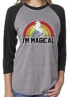 SoRock Unisex I'm Magical Rainbow Unicorn 3/4 Sleeve Tshirt Heather Grey (runs big for women)