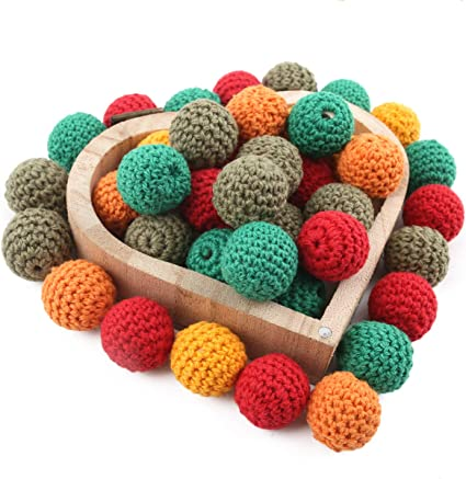 10Pcs  Crochet Beads Natural Wooden Chewable Tooth Nursing Necklace Teething