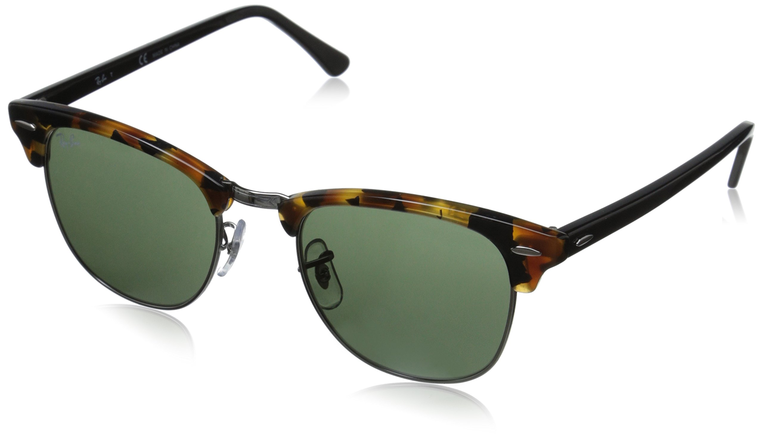 Ray-Ban RB3016 Clubmaster Square Sunglasses, Spotted Black Tortoise/Green, 51 mm by Ray-Ban