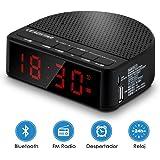 Enceinte Bluetooth Haut Parleur Bluetooth Sans Fil Portable FM Radio- DEZIER 5W Enceinte Bluetooth Speaker pour Smartphones, Tablettes et Périphériques MP3, Horloge de Chambre, Réveil Musical, Support pour Mobilephone, Radio FM, Bluetooth4.2, Cartes AUX / TF 3.5mm (MX-17)