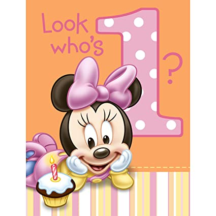 amazon com hallmark minnie s 1st birthday invitations 8 ct toys