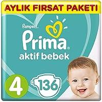 Prima Bebek Bezi Aktif Bebek, 4 Beden, 136 Adet, Aylık Fırsat Paketi