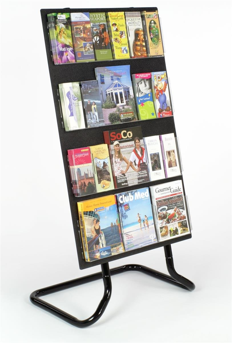 Floor-Standing Plastic Literature Holder with Metal Stand and Adjustable Clear Acrylic Pockets - Black