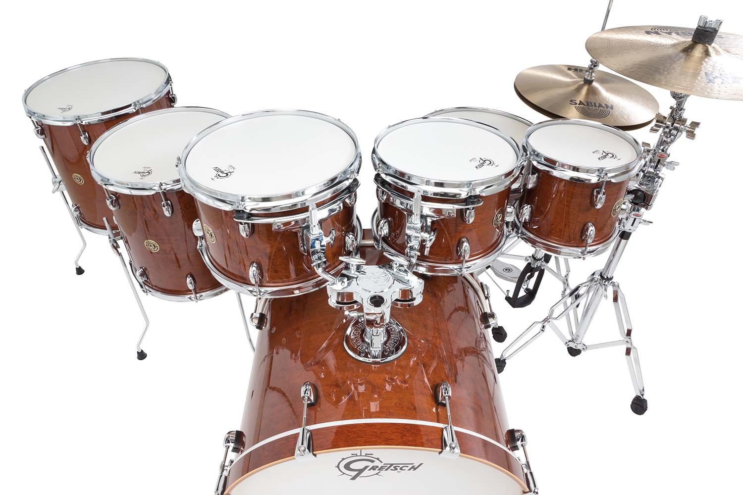 Amazon Gretsch CM1E826PWG 2014 Catalina Maple 7 Piece Rock Shell Pack And 22 Inch Kick With Free Additional 8 Tom