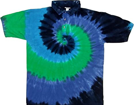21dd0cfc5542 Tie Dyed Shop Blue Green Spiral Golf Tie Dye Sport Collared Polo Style Shirt -2X