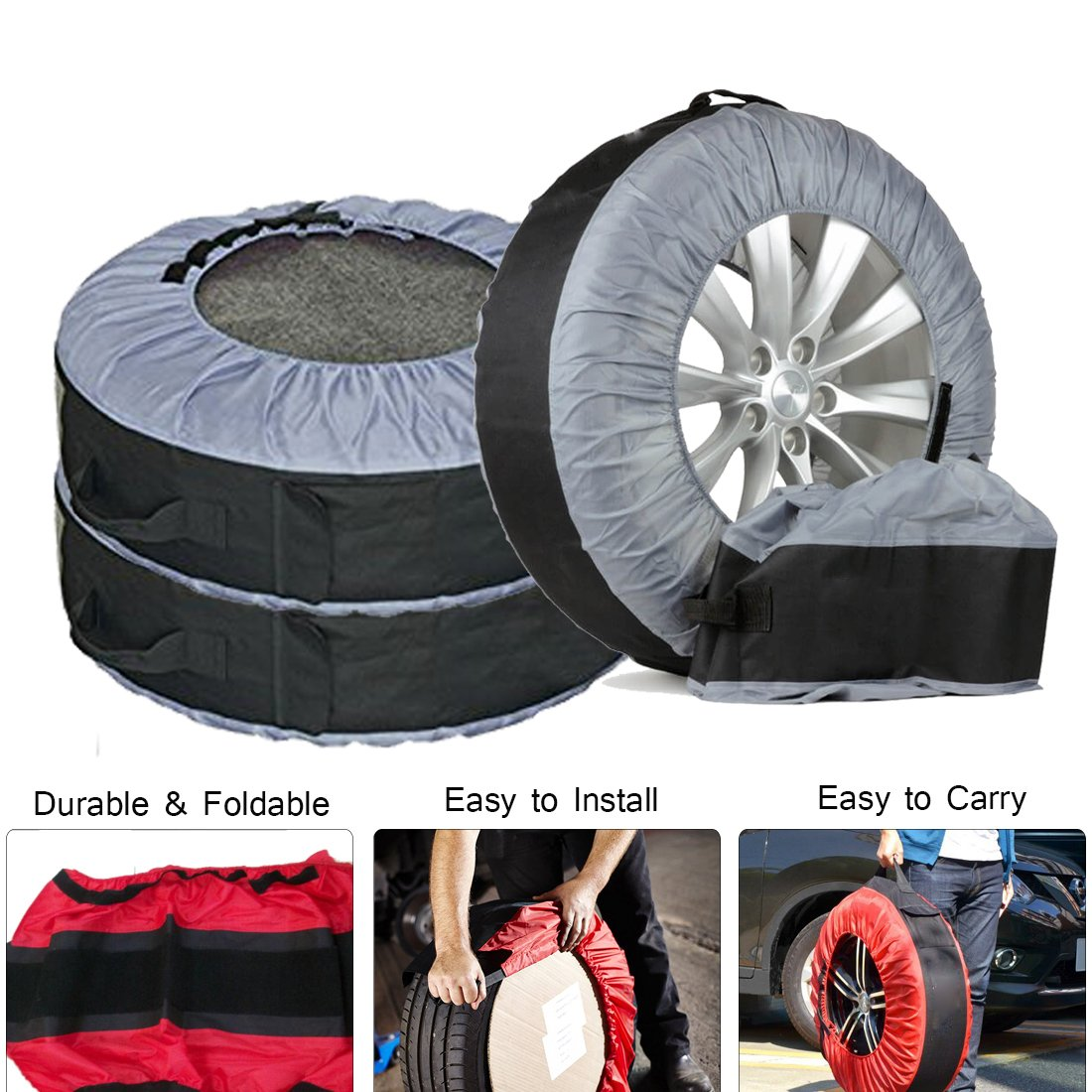 FLR Tire Tote Adjustable Waterproof Grey 30in Tire Covers Bags Seasonal Tire Storage Bag for Car Off Road Truck Tire Totes Set of 4 by FLR (Image #4)