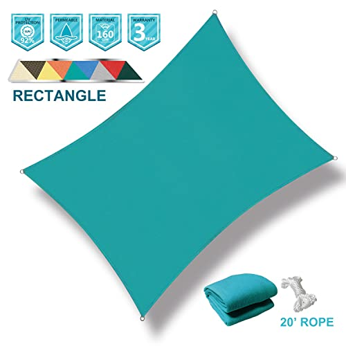 Coarbor 12 x 16 Rectangle Turquoise Green UV Block Sun Shade Sail Perfect for Patio Outdoor Garden