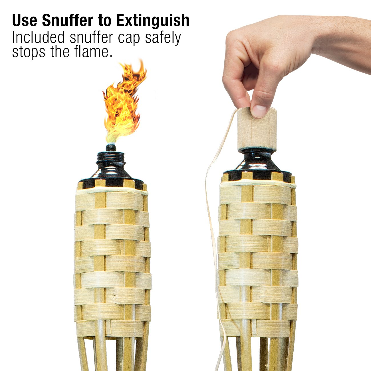 Includes Metal Oil Canisters with Covers to Extinguish Flame Parties Matney Bamboo Torches 12 Pack Extra Long 60 Inches Great for Outdoor Decorating Luau
