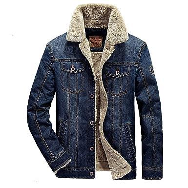 Screenes Chaqueta Mezclilla Abrigos Fleece Otoño Hombres Jeans Slim Fit Cazadoras con Invierno Outwear Chaqueta Acolchada Corta Mezclilla Outwear
