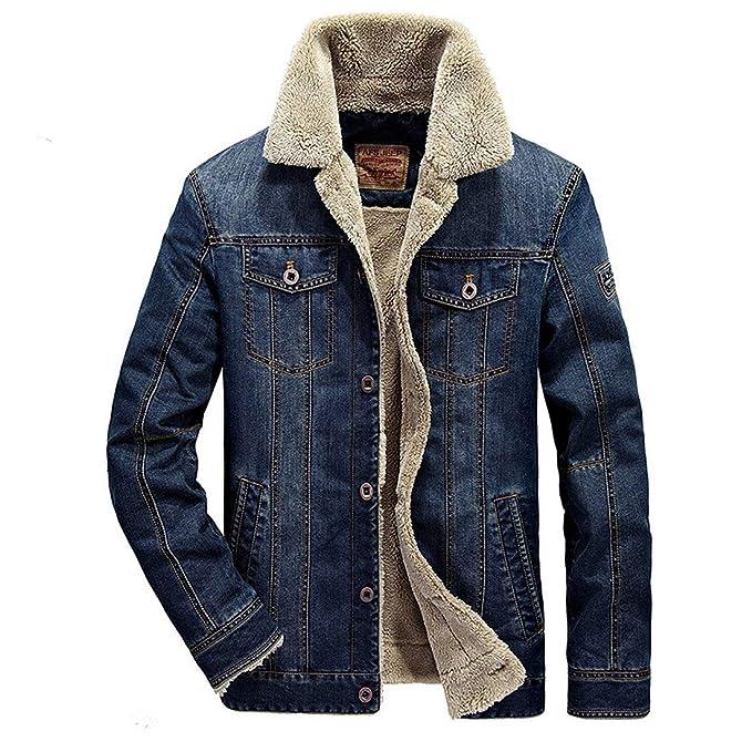Screenes Chaqueta Mezclilla Abrigos Fleece Otoño Hombres Jeans Slim Fit Cazadoras con Invierno Outwear Chaqueta Acolchada Corta Mezclilla Outwear: ...