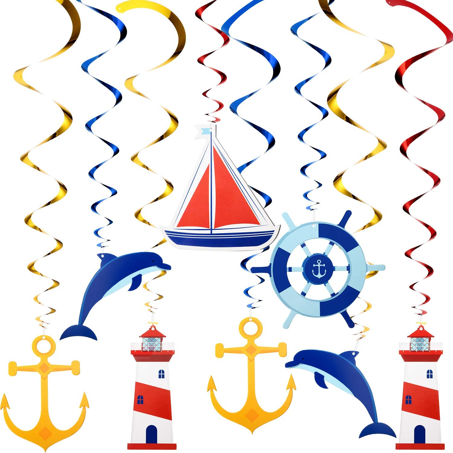 Willbond 20 Pieces Nautical Hanging Swirl Cruise Ship Anchor Hanging Nautical Sailor Theme Party Decorations for Birthday Baby Shower Bachelorette Party Supplies
