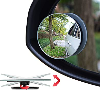 2PCS Stick-On Wide Angle Convex Car Blind Spot Round Side View Rearview Mirror