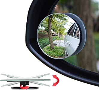 """Ampper Blind Spot Mirror, 2"""" Round HD Glass Convex Rear View Mirror, Pack of 2"""