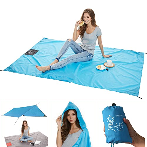 Beach Blanket with 6 Sand Packets - Nylon Waterproof Fast Drying Lightweight Outdoor Blanket - Multipurpose for Beach Picnic Outdoor and Travel Mat with Carry Bag & Metal Pegs Blue By Topnuna