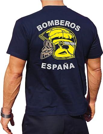 fuego1 T-Shirt/Camiseta (Navy/Azul) Bomberos ESPAÑA, Casco Amarillo, Bandera española: Amazon.es: Ropa y accesorios