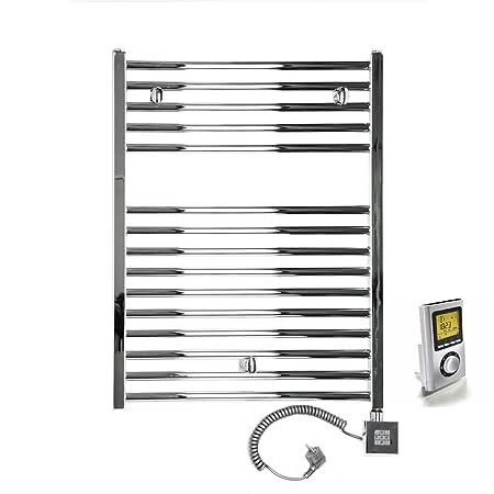 Secador-Radiador toallero eléctrico 300 W (restitución W) 250 x 775-500 L-Chromé derecho Mando a distancia, programación semanal: Amazon.es: Hogar