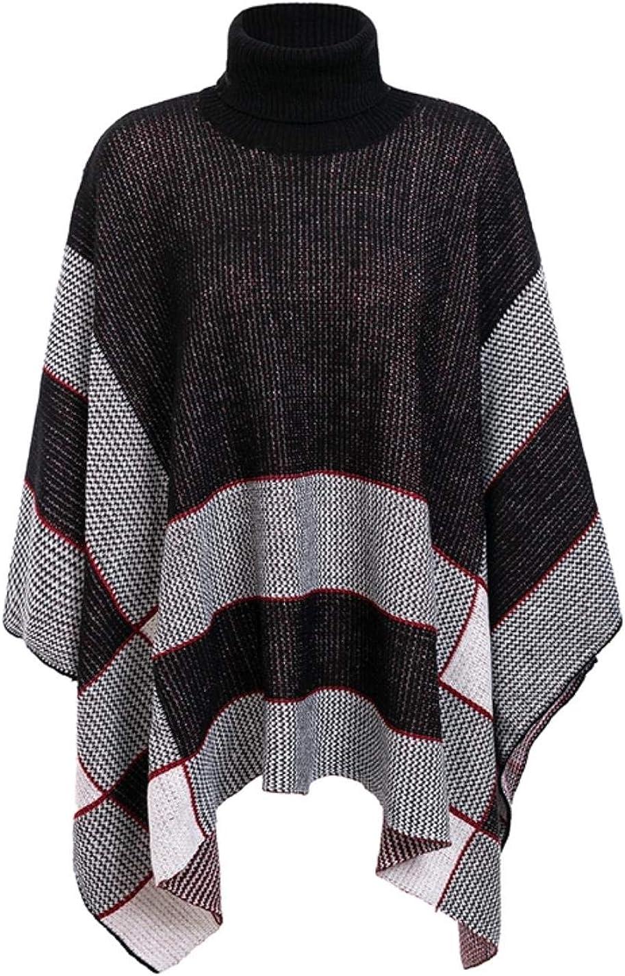 Womens Knit Turtleneck Cape Sweater Black Casual Jumper Street Sweater