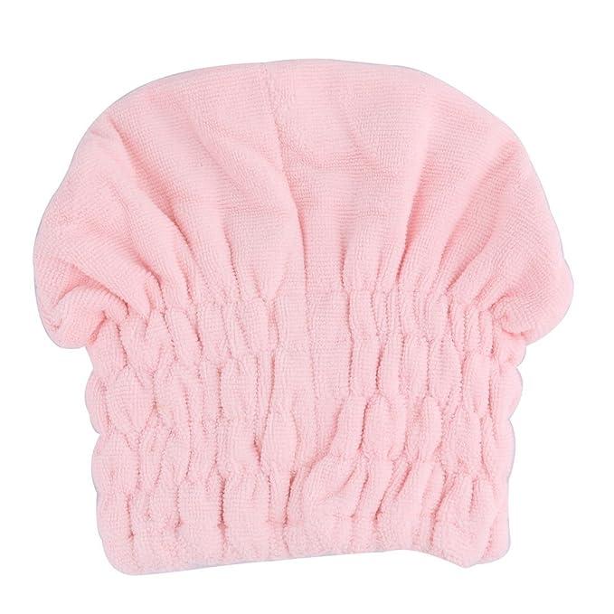 Amazon.com: eDealMax Cap microfibra baño de ducha elástico decoración Bowknot agua absorbente Cabello seco Sombrero Rosado: Home & Kitchen