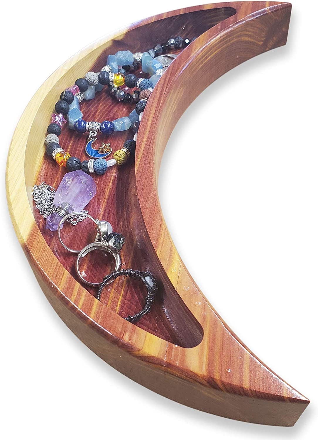 Crescent Moon Tray to Organize your Crystals, Moon Rocks - Wooden Rustic Dish Décor for Essential Oils - Jewelry holder Organizer