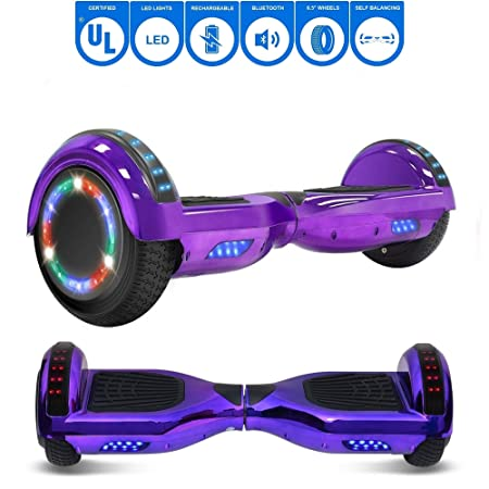 NHT 6.5' Chrome Electric Hoverboard Self Balancing Scooter with Built-in Bluetooth Speaker LED Lights - UL2272 Certified