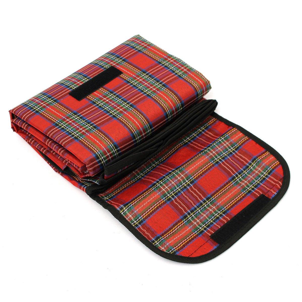 garden mile Large Compact Waterproof 150cm x 115cm Tartan Picnic Blanket Pet Blanket Machine Washable Festival, Camping, Car Blanket Ideal Travel Rug (Red) Garden mile®