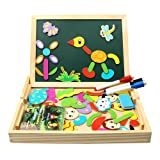 Magnetisches Holzpuzzle | infinitoo Magnetisches Puzzle | Doppelseitiges Magnetisches Holzspielzeug mit Bunten Teilen, Populäres pädagogisches Lernspielzeug für Baby,Kleinkinder ab 3 Jahre | Perfekt für den Einsatz zu Hause, in Schulen, Picknick, Kindertagesstätten etc