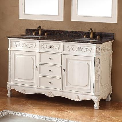James Martin Furniture 498016 60 in. Double Vanity in Antique White Finish - James Martin Furniture 498016 60 In. Double Vanity In Antique White