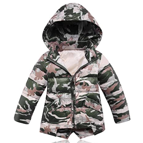 iikids Pluma de chaqueta Kids niño camuflaje encapuchados Abrigo del invierno caliente de la Capa Nuevo