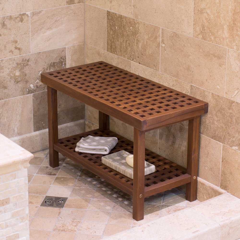 Transitional style Lattice Teak Shower Bench in Natural Wood Finish