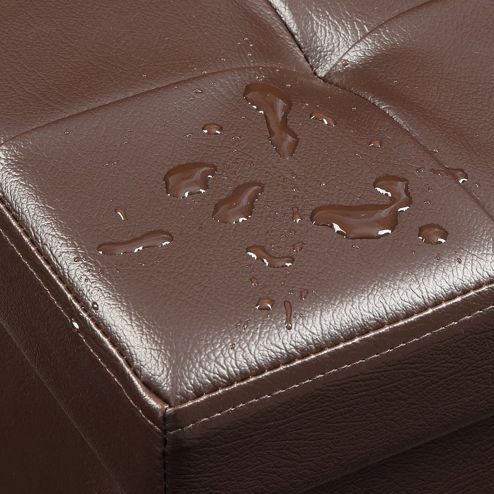 """Total Win Faux Leather Foldable Storage Ottoman - Brown (15""""Lx15""""Wx15""""H) 
