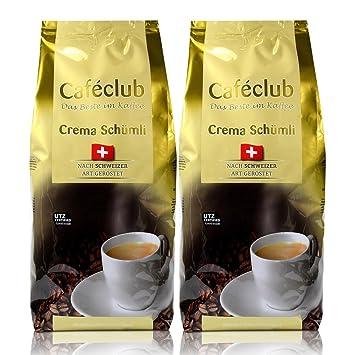 2x Beans Cafeclub super crema Suiza Schümli Café 1kg Cafeteras